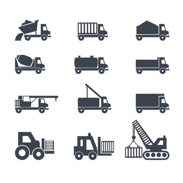 construction trucks icons