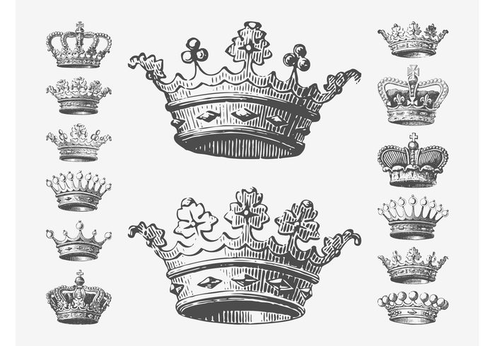 Detailed and Hand Drawn Royal Crowns