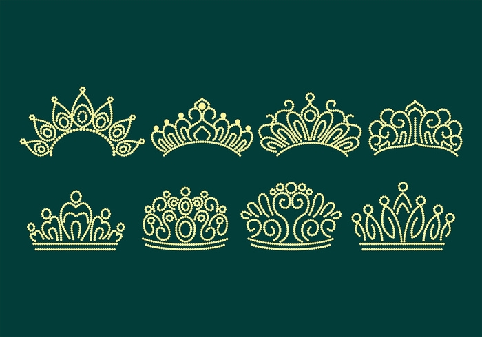 pageant crown vector icon set2