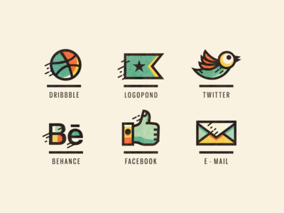 subdued colors of social media icons