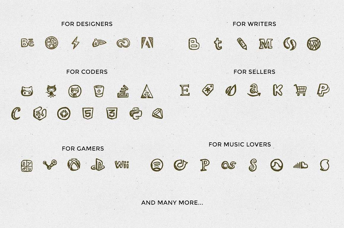 hand drawn social media apps icons