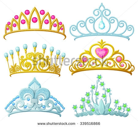 stock vector set of princess crowns tiara isolated on white vector illustration 3395168662