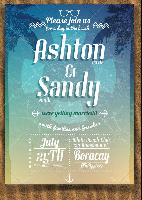 Beach Style Wedding Invitation Card