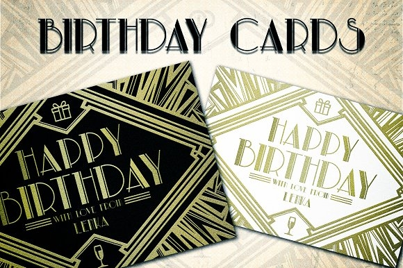 Birthday Greeting Art Deco Card