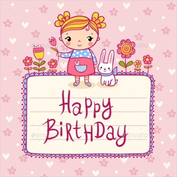 Birthday Greeting Card For Little Girls