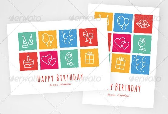 Birthday Greeting Card with Layout Variations