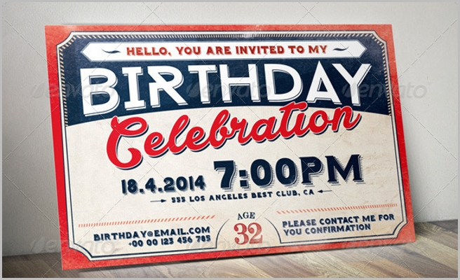 Birthday Retro Vintage Invitation Card