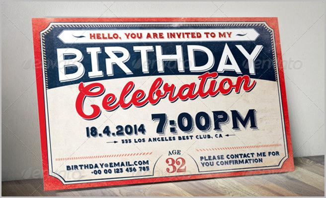 Birthday Retro Vintage Invitation Card
