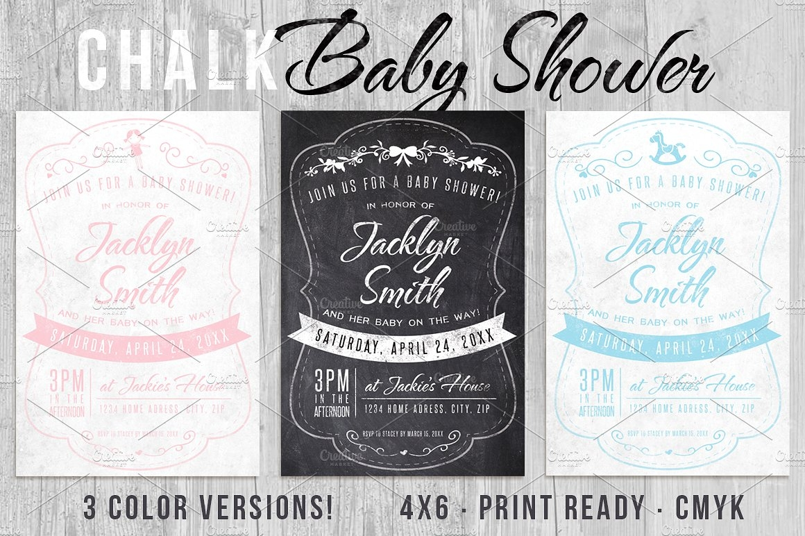 Chalk Baby Shower Invitation
