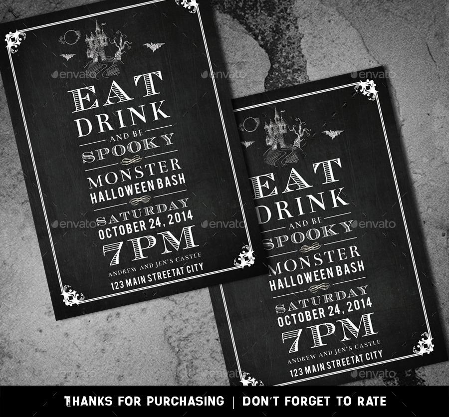 Chalkboard Halloween Party Invitation Card