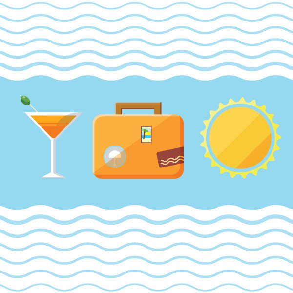 Cocktails While Travel Vector Icons