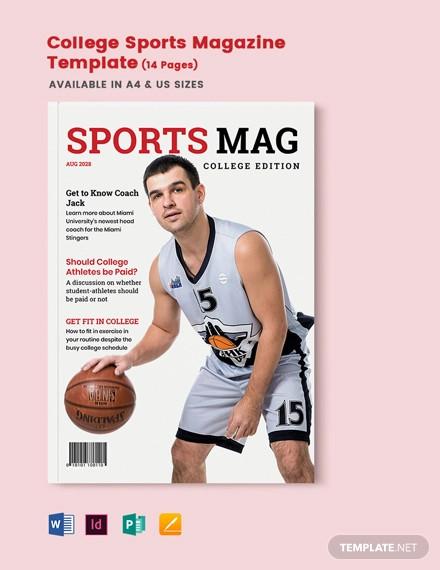 college sports magazine template