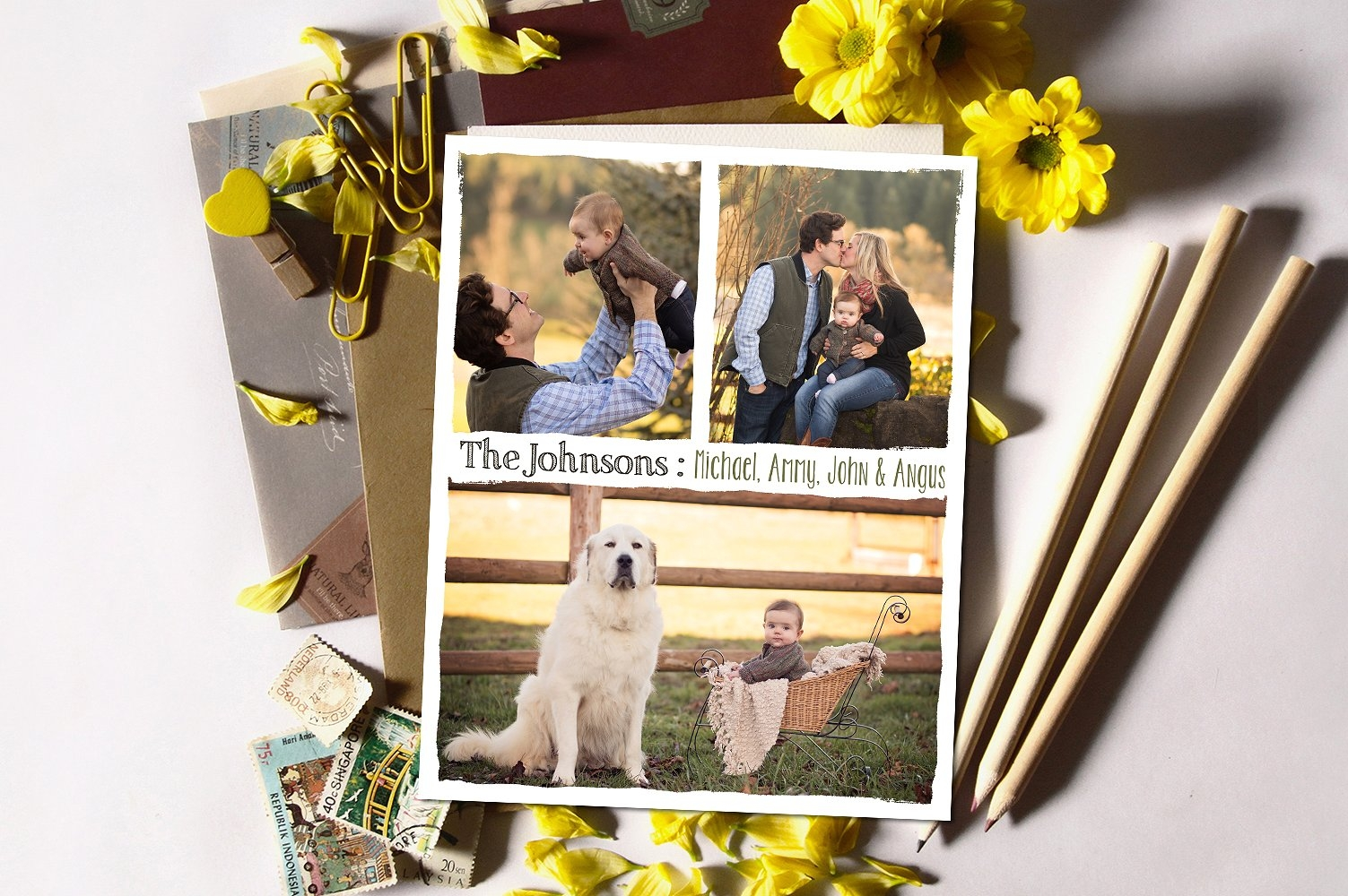 family photo collage board country vibes