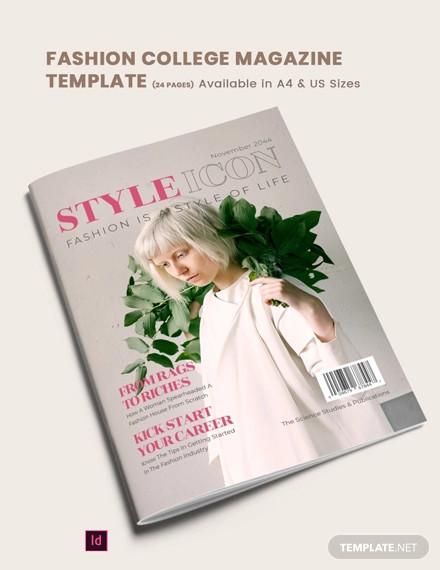 fashion college magazine template