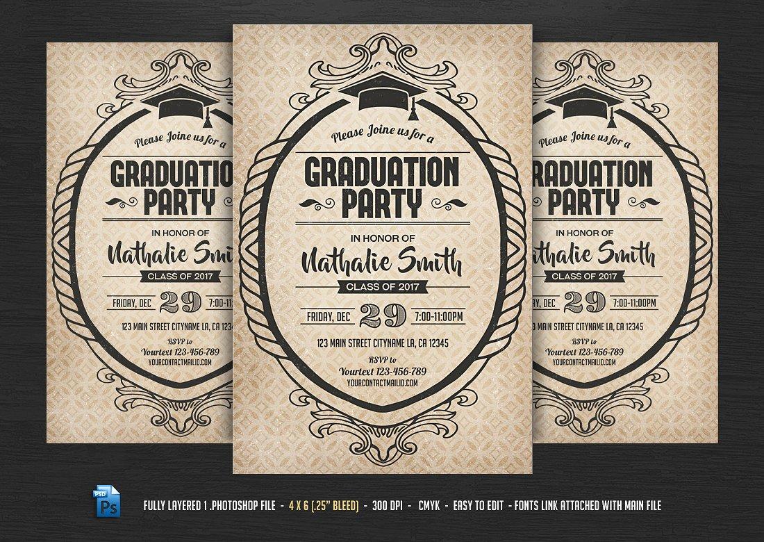 Graduation Party Typographic Flyer