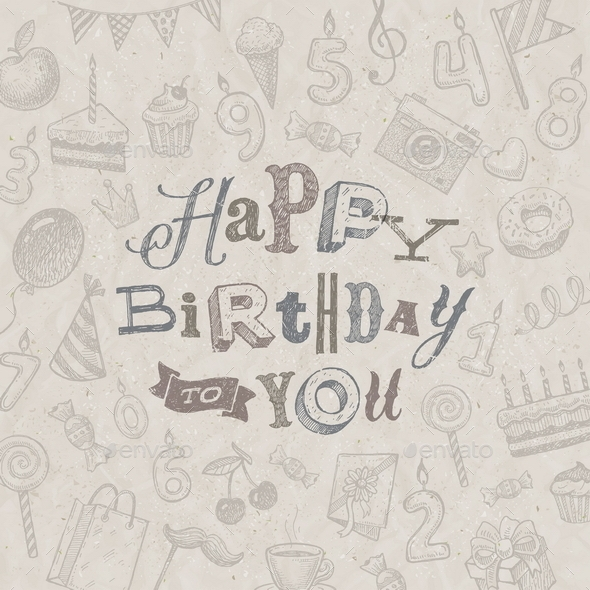 Hand Drawn Birthday Greeting Card