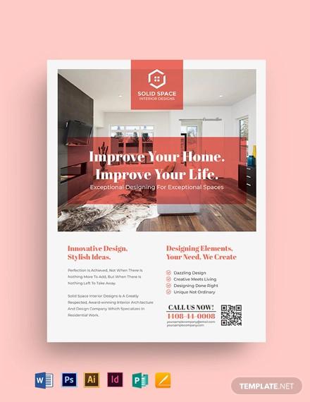 interior design consultancy flyer template