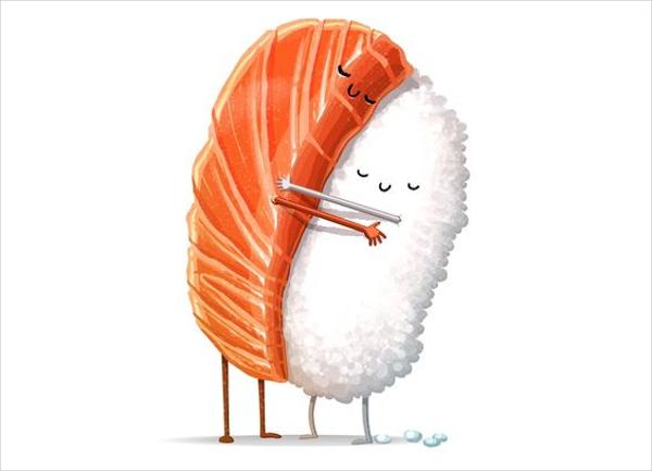 Loving Sushi Food Illustration
