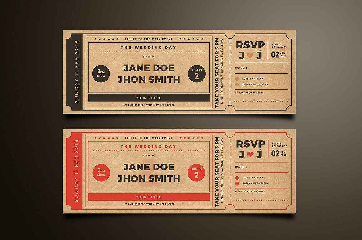 Movie Ticket Style - Wedding Invitation