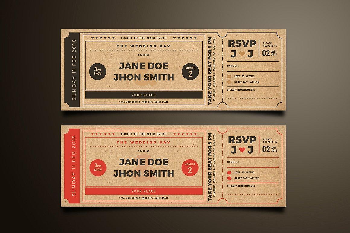 Movie Ticket Style - Wedding Invitation