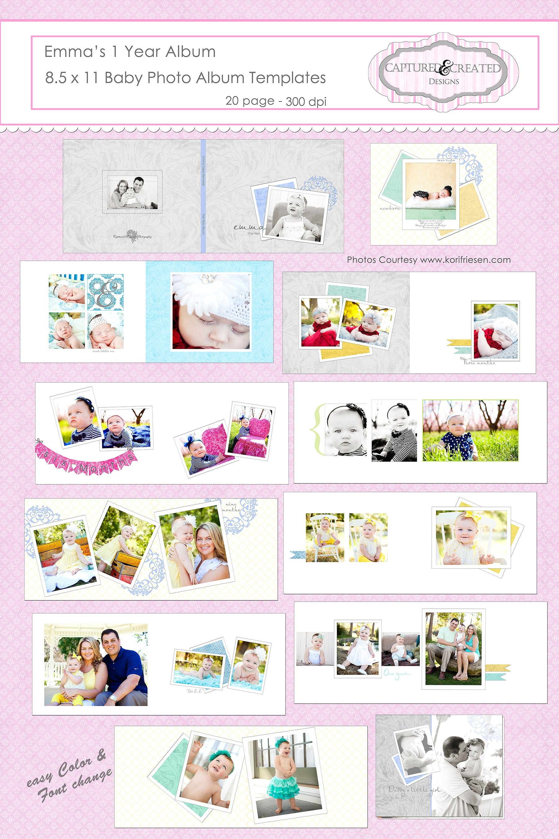 One Year Baby Album Template