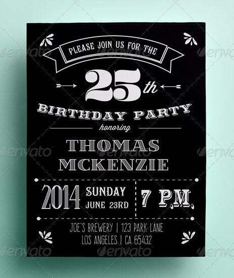 Retro Black and White Invitation Card