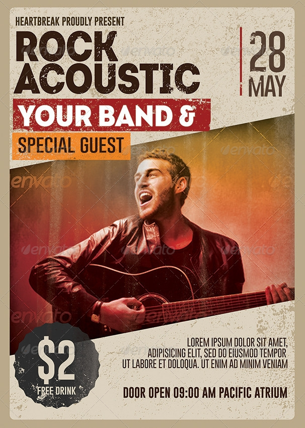 Rock Acoustic Music Flyer