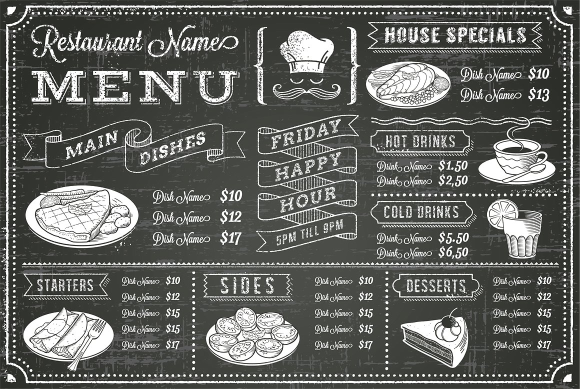 Vector Chalkboard Menu Template