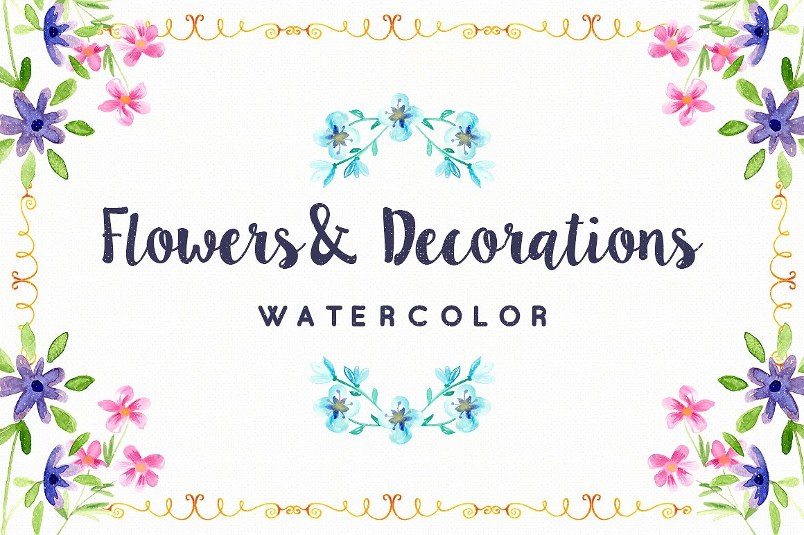 Watercolor Flowers & Decorations