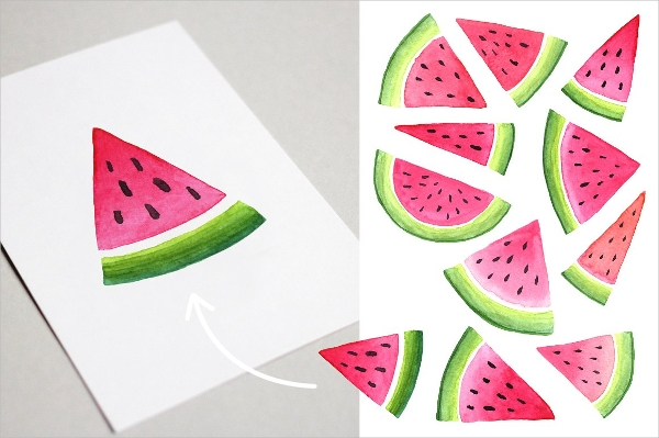 Watermelon in Watercolor Illustrations