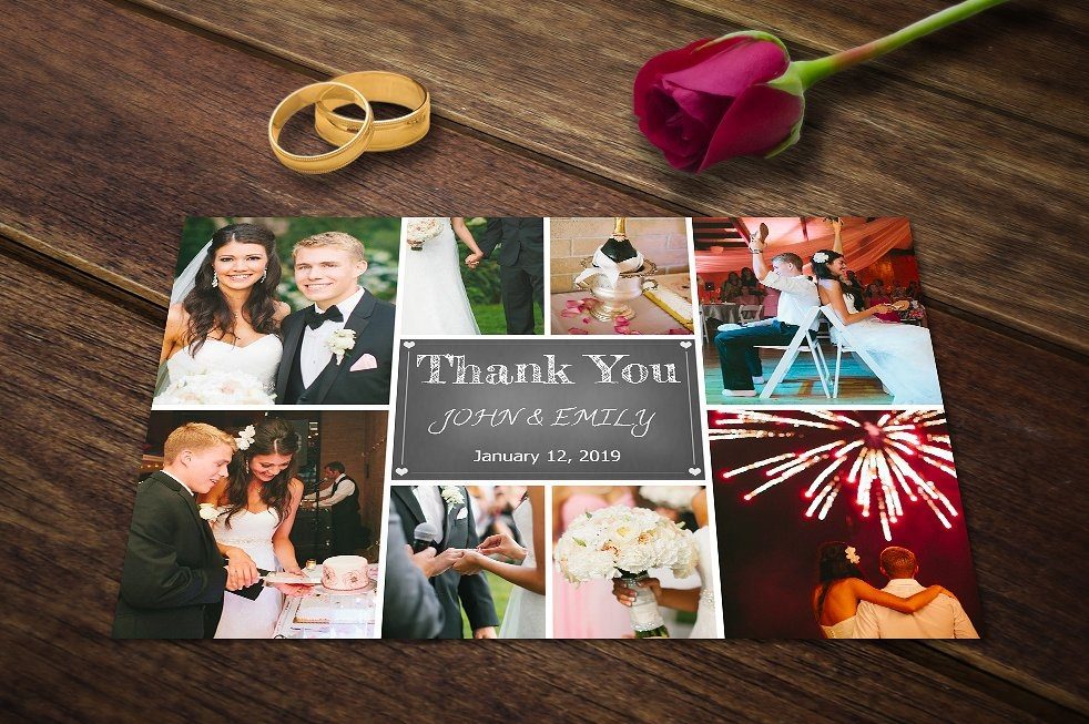 Wedding Thank You Card Template PSD
