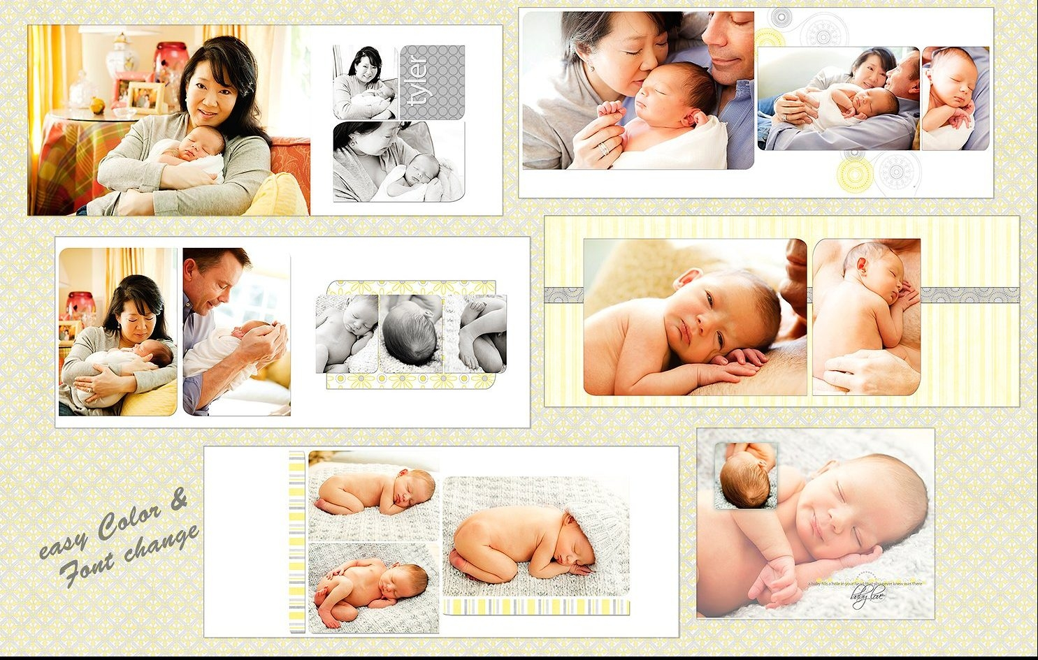 Yellow and Grey Baby Photo Album Template