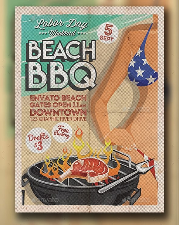 Labor Day BBQ Flyer Template
