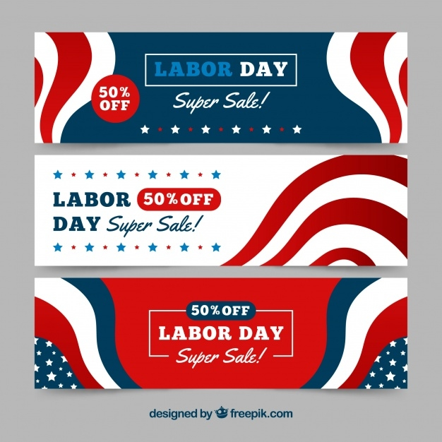 Labor Day Abstract Promotional Banners