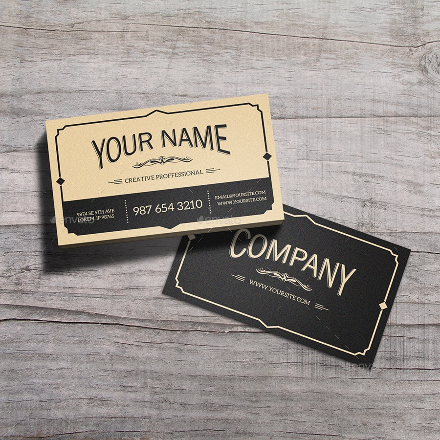 Vintage Business Card Design with Two Color Variations
