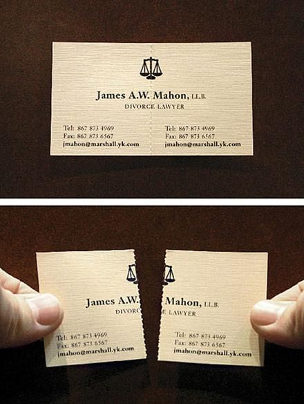 James A.W Mahon Divorce Laywer Perforated Busines Card
