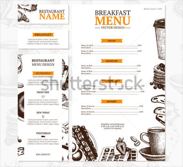breakfast menu card vector design