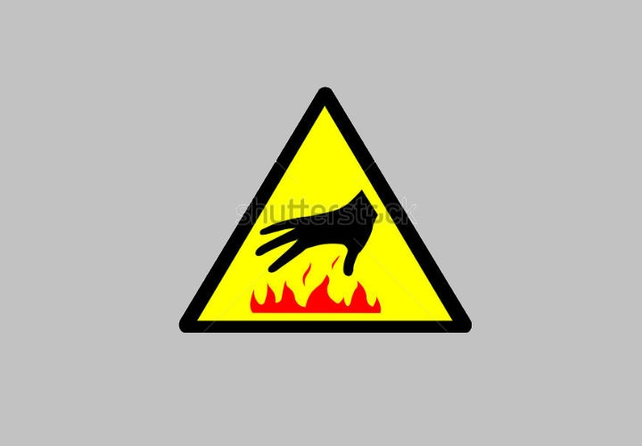 Caution: Hot Surface Warning Icon Design
