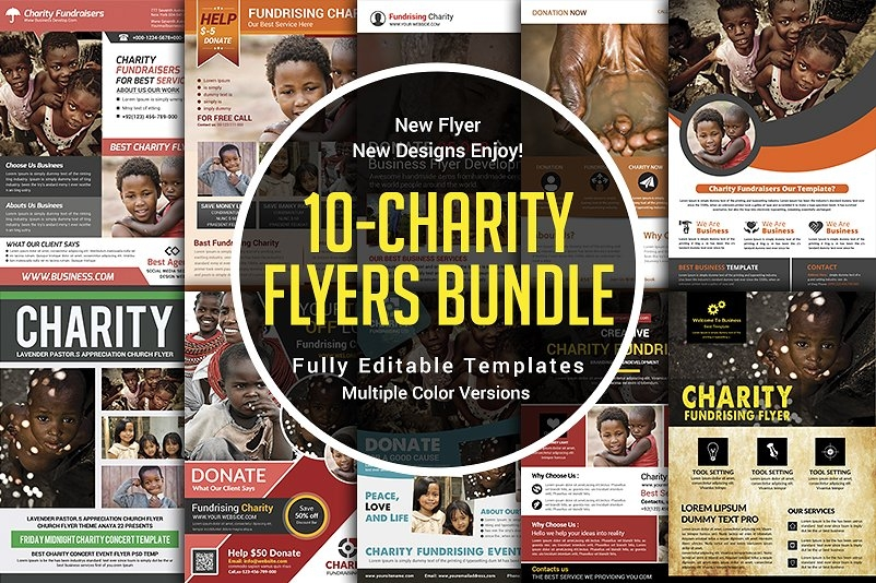 charity donation flyers bundle