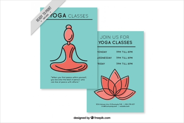 Gentle Outlined Graphic Yoga Classes Flyer Design