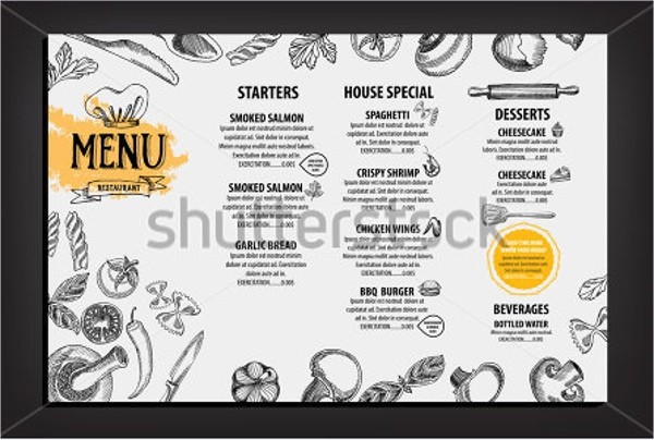 Hand Drew Modern Menu Card design