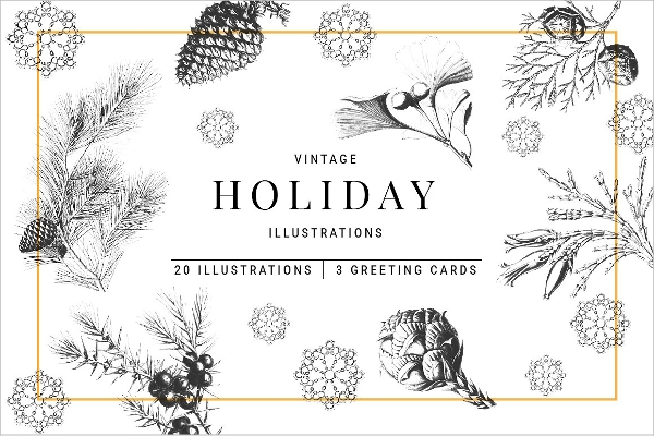 Hand drawn, Vintage Christmas Illustrations and Greeting Cards