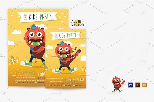 Illustrated Kid's Party Flyer Design Template