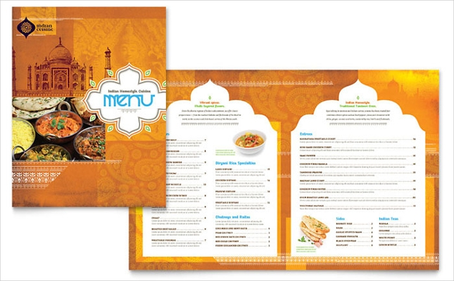 Indian Restaurant Menu Card Design