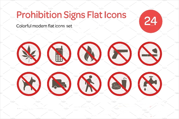 Prohibition Signs Flat Thick Outlined Icons