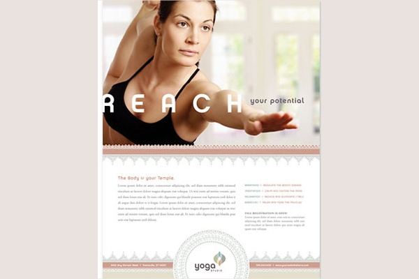 Reach Your Potential Yoga & Pilates Flyer Design Template