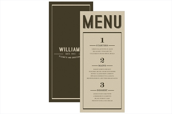 Retro Inspired & Minimal Wedding Menu Card Design