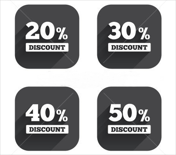 Sale Discount Icons in a Semi Flat Design