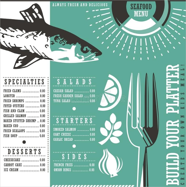 Seafood Restaurant Menu Card Design