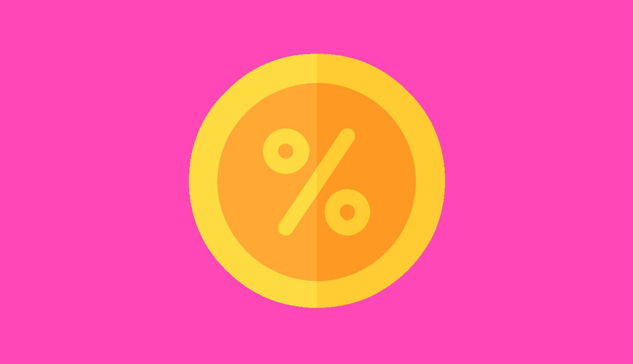 Semi Flat Design Round Percentage Free Icon